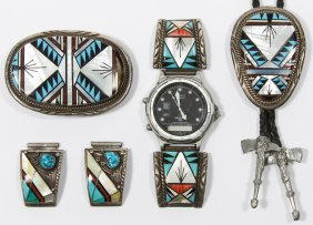 Navajo Sterling Silver Watch, Bolo Tie And Belt Buckle