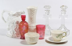 Belleek Ceramic And Moser Style Glass Assortment