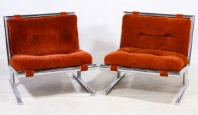 Mid-century Modern Chrome Upholstered Chairs