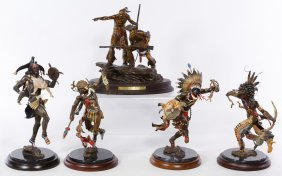 Native American Cold Painted Bronze Statue Assortment