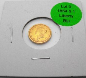 1854 $ 1 Liberty Gold NEAR BU Grade