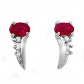 0.72 Ctw Ruby & Diamond Earrings