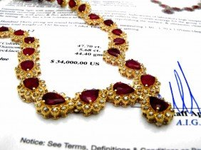 $34,000 Appraised Ruby & Diamond Necklace