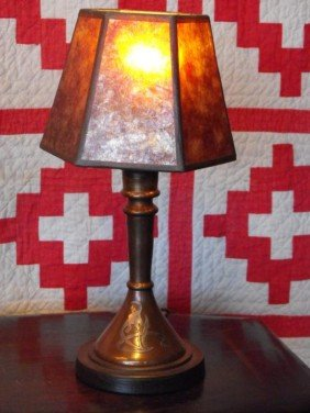 Heintz Sterling Overlay Copper Lamp W/ Mica Shade