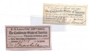 (2) Confederate Loan Notes- $100- $1000