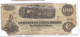 $100 Confederate Currency - Low Grade
