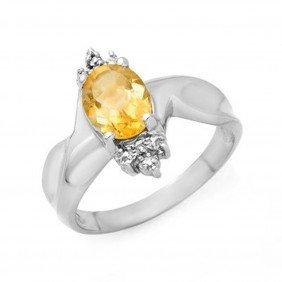 Genuine 1.09 Ctw Citrine & Diamond Ring 10K White G