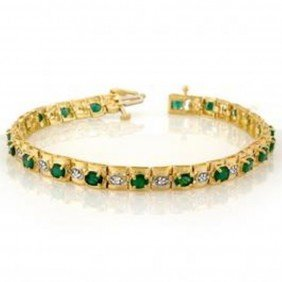 4.09 Ctw Emerald & Diamond Bracelet