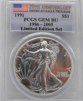 1991 GEM BU PCGS 20th Anniv. Silver Eagle