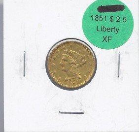 1851 P $ 2.5 Gold Liberty