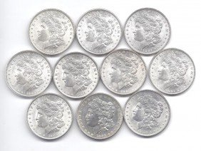(10) Brilliant Uncirculated P Mint Morgans