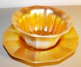 Steuben Gold Aurene Bowl And Liner