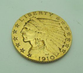 1910 P $ 5 Indian Gold Coin