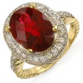 5.50ct Rubellite & Diamond Ring 14K