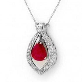 4.4 Ctw Ruby & Diamond Necklace
