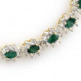 22.0 Ctw Emerald & Diamond Necklace 14K
