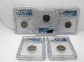 Lot Of 5 ICG Slabbed Buffalo Nickels