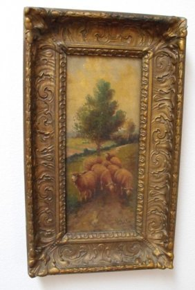 19th Century Scenic Oil On Canvas W/ Sheep