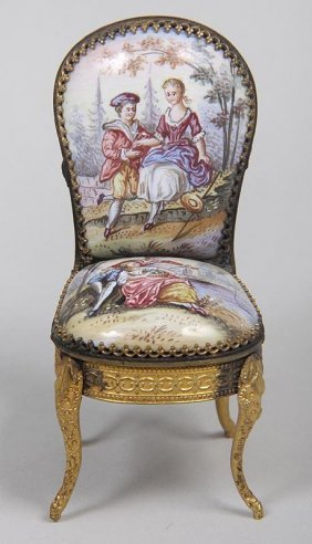 Fine French Porcelain Decorated Miniature Chair