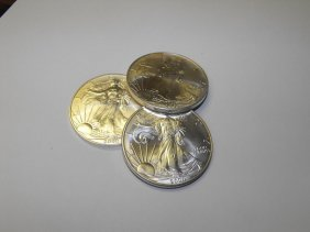 Lot Of (3) Silver Eagles Random Years