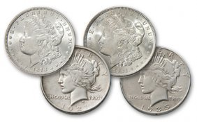 Bookend Morgan And Peace Dollar Sets