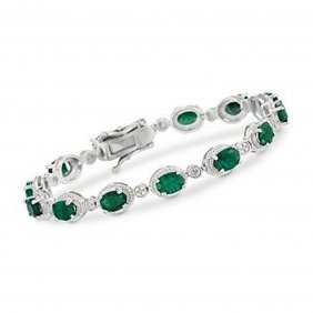 9.10 Ct. T.w. Emerald Bracelet In Sterling Silver I