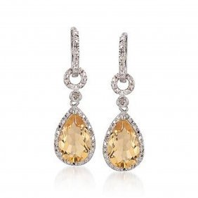6.00 Ct. T.w. Citrine And Diamond Drop Earrings In