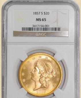 1857-S $20 Liberty MS65 NGC 923902-55