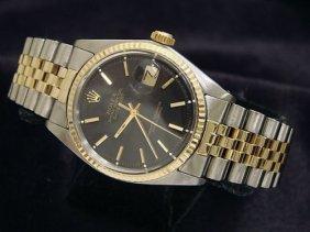 Man's Rolex 14k / Ss 2 Tone W/ Black Dial