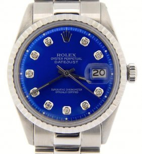 Rolex Stainless Steel Datejust Watch Sub Blue Dial