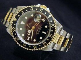 Rolex 18k/ss Gmt Master -ii Black Dial