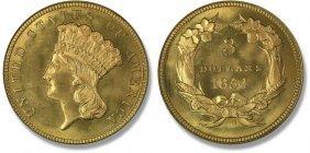 Superior Grade 1854 $ 3 Gold Princess