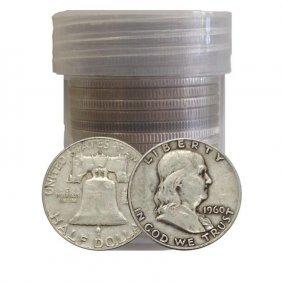 Roll Of (20) $ 10 Face Value Franklin Halves 90%