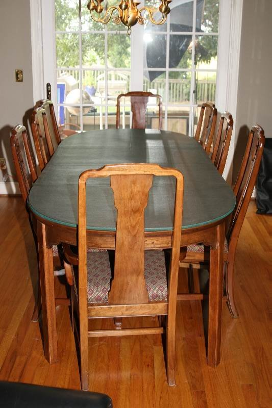 8091 ethan allen formal solid dining room table w 8 ch lot 8091