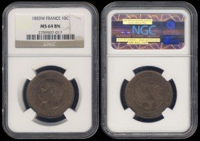 France 10 Centimes 1853W NGC MS64BN
