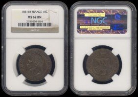 France 10 Centimes 1861BB NGC MS62BN