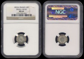 France 20 Centimes 1853A NGC MS64