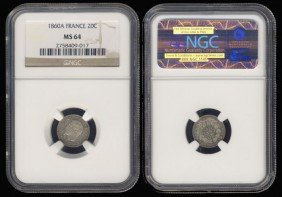 France 20 Centimes 1860A NGC MS64