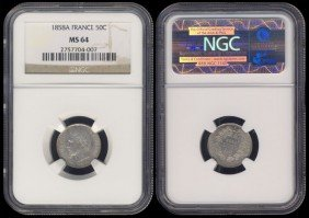 France 50 Centimes 1858A NGC MS64