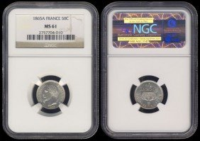 France 50 Centimes 1865A NGC MS61
