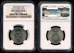 Brunei  50 Cents 1968 Error NGC MS66