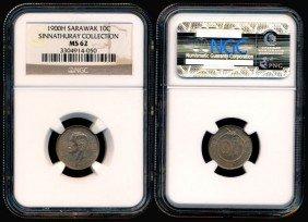 Sarawak C Brooke 10 Cents 1900H NGC MS62