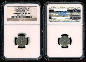 Singapore 5 Cents 1967 Error NGC AU58