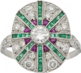 Diamond, Emerald, Ruby, Platinum Ring