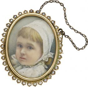 Victorian Ivory Portrait, Pearl, Gold Brooch