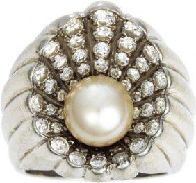 Retro Diamond, Cultured Peal Ring, Circa 1950