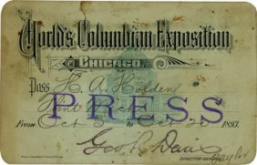 Columbian World's Fair: Press Pass,