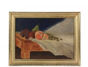 Downeast Naive Artist - Still Life Of Fruit On Tiger