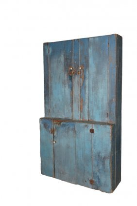 Blue Painted Stepback Cupboard - 19th C. New England,