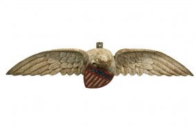 Carved Eagle - Large 19th C. Pine Plaque Of A